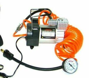 Heavy Duty All Metal Mini Air Compressor 12v Tire Inflator With Gauge And Hose
