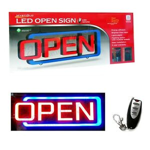Led Open Sign With Remote Control Illuminated 3 Year Mystiglo Warranty New