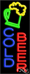 Cold Beer Handcrafted Real Glasstube Neon Sign