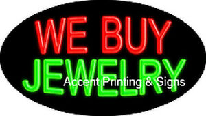 We Buy Jewelry Handcrafted Real Glasstube Flashing Neon Sign