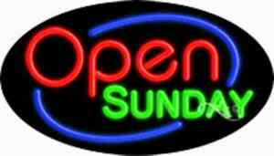 Open Sunday Handcrafted Real Glasstube Flashing Neon Sign