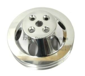 Sbc Chevy 2 Groove Polished Aluminum Short Water Pump Pulley 283 327 350 400
