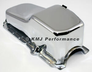 86 02 Sbc Chevy Chrome Oil Pan Stock Capacity 305 350 Vortec 1 Pc Rear Main