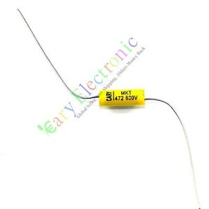 100pcs Long Leads Axial Polyester Film Capacitor 0 0047uf 630v Tube Amp Radio