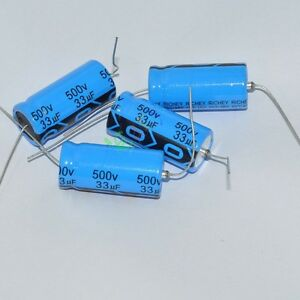 20x 500v 33uf 85c Long Leads Axial Electrolytic Polarized Capacitors Fr Tube Amp