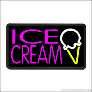 Ice Cream Cone Backlit Illuminated Electric Window Sign 13 x24