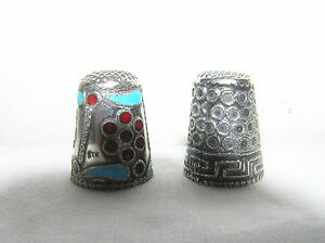 Sterling Silver And Enamel Sewing Thimble And Sterling Silver Sewing Thimble