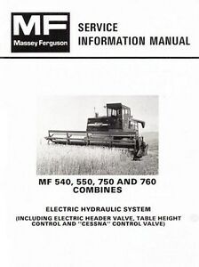 Massey Ferguson Mf 540 550 750 760 Combine Electric Hydraulic Service Manual
