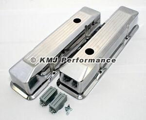 58 86 Sbc Chevy 350 400 Polished Aluminum Ball Mill Recessed Tall Valve Covers
