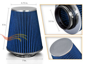 Blue 3 5 Inches 3 5 89mm Inlet Cold Air Intake Cone Long Truck Filter For Gmc