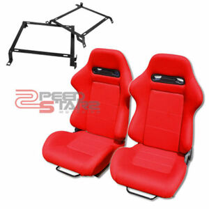 Red Type r Sport Cloth Reclinable Racing Bucket Seats 92 00 Civic Brackets