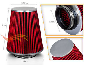 Red 3 5 Inches 3 5 89mm Inlet Cold Air Intake Cone Long Truck Filter For Acura