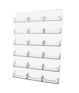 18 Pocket Business Card Holder Acrilyc Horizontal Wall Mount New Clear Rack