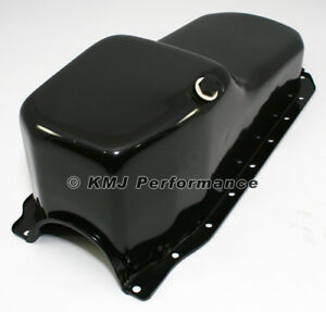 86 02 Sbc Chevy Black Oil Pan Stock Capacity 305 350 5 7 Vortec 1 Pc Rear Main