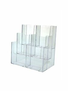 Clear 6 Pocket Tiered Brochure Holder For 3 3 4 w Literature lot Of 2