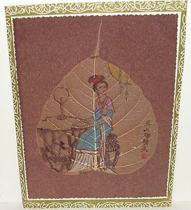 The Synopsio Of Pudi Tissue Picture Painting Of A Geisha Girl On A Leaf