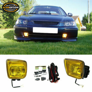 Fits 96 98 Honda Civic Ek Jdm Yellow Fog Lights Lamps Kit