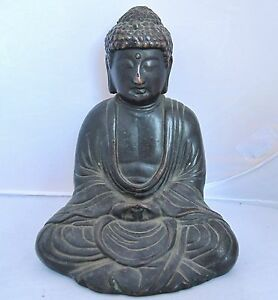 7 4 Antique Chinese Bronze Or Copper Seated Buddha In Lotus Position