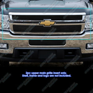 Fits 2011 2014 Chevy Silverado 2500hd 3500hd Black Billet Grille Grill Insert