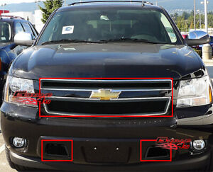 Fits 2007 2014 Chevy Tahoe Suburban Avalanche Black Mesh Grille Grill Combo