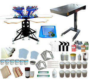 6 Color Silk Screen Printing Press With Flash Dryer Complete Diy Shirt Supply