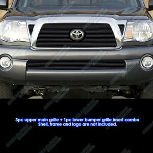 Fits 2005 2010 Toyota Tacoma Black Billet Grille Grill Insert Combo
