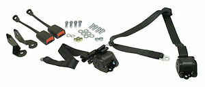 Empi Vw Bug 1968 1979 3 Point Retractable Seat Belt Harness Black Pr 3851