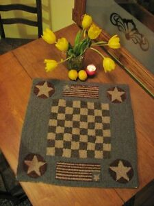 Primitive Hooked Rug Pattern On Monks Game Board Series Checkerboard