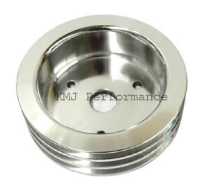 Sbc Chevy Aluminum Crank Pulley Triple 3 Groove For Long Water Pump Lwp 350 400