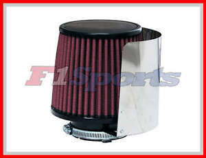 3 Air Filter Cone With Stainless Steel Heat Shield Cover Cold Air Intake