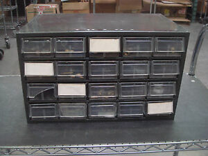 Akro mills Used 20 Drawer Parts Cabinet With Misc Parts connectors Etc