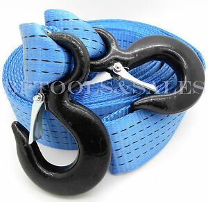 2 Inch X 20 Ft Polyester Tow Strap Rope 2 Hooks 12 000lb Heavy Duty