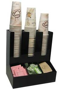 Coffee Cup Dispenser Condiment Caddy Office Lid Holder Stirrer Counter Organizer
