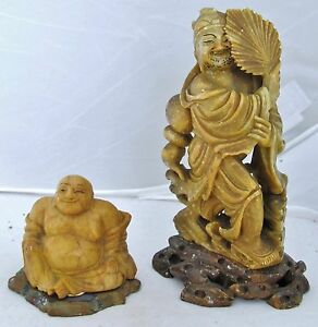 2 Antique Or Vintage Chinese Carved Yellow Soapstone Hotei Buddha