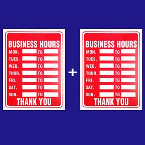 2 Signs Business Hours Flexible Thick Plastic Business Home Office Size 9 x12