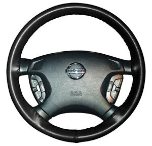 Black Custom Fit Leather Steering Wheel Cover Fast Ship Wheelskins Size Axx