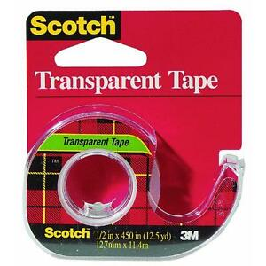 144 Pk 3m 1 2 X 450 Scotch Transparent Tape W dispenser 144
