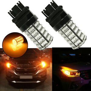 2x 3000k Amber 3156 3157 4157 Led Bulbs Turn Signal Blinker Corner Lights Lamps