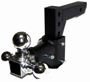 H D Tri Ball Swivel Adjustable Trailer Tow Drop Hitch Ball Mount 2 Receiver