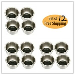 12 Pack Stainless Steel Cup Drink Holder With Drain For Marine Boat Rv Camper Us