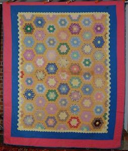 Colorful 30 S Grandmother S Flower Garden Antique Quilt Nice Borders