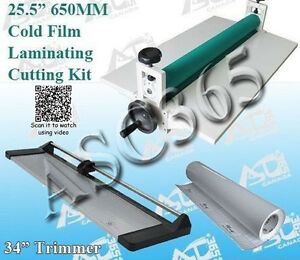 Lamianting Kit 25 5 Cold Laminator 34in Paper Trimmer 1 Rolls Laminating Film