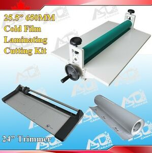 25 5 Cold Laminator 24in Rotary Paper Cutter Trimmer Rolls Laminating Film