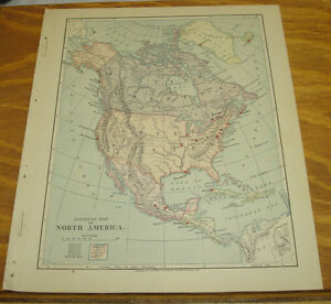 1887 Harpers Antique Color Map North America Political