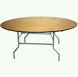 Lot Of 4 5ft Wood Top Round Banquet Catering Folding Tables