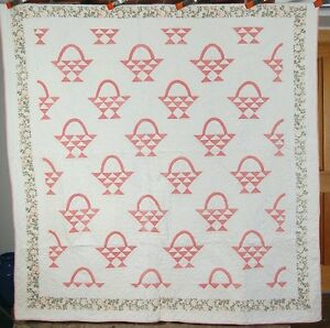 Gorgeous Vintage 20 S Chambray Pink Cherry Baskets Antique Quilt Nice Border