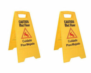 Caution Wet Floor Sign Case Of Two Bright Yellow Plastic