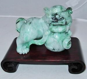3 85 Chinese A Grade Carved Green White Jadeite Jade Foo Dog Statue With Coa