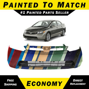 New Painted To Match Front Bumper Cover For 2006 2008 Honda Civic Sedan