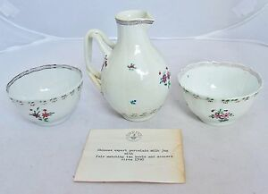 Antique 18th Century Chinese Export Pitcher 2 Tea Cups Or Bowls W Shreve Card